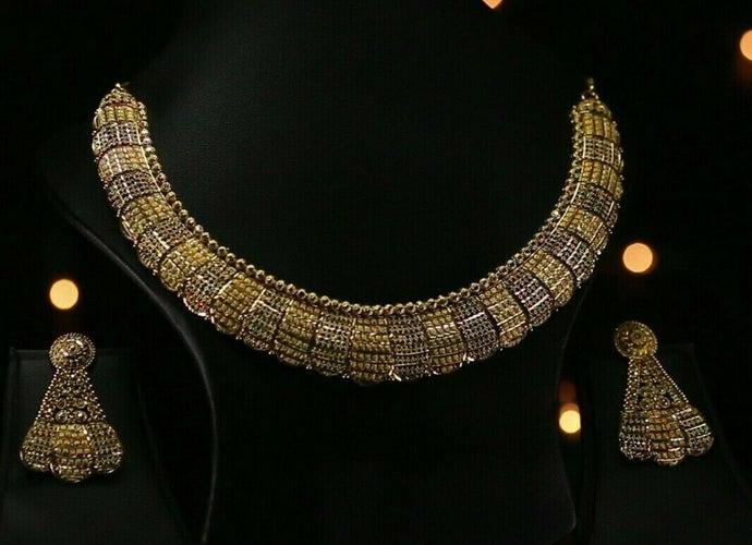 22k Beautiful Charm Solid Gold Classic Two Tone Necklace Set For Ladies #LS189