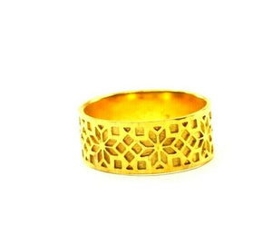 "22k Ring Solid Gold ELEGANT Charm Ladies Floral Band  SIZE 7.5 ""RESIZABLE"" r2293 - Royal Dubai Jewellers"