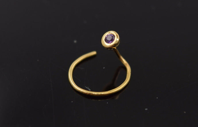 Authentic 18K Yellow Gold Nose Pin Ring Light Purple Birth Stone February n123 | Forever22karat