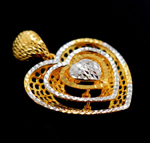 22k Jewelry Solid Gold ELEGANT Charm Heart LOCKET Pendant P552 | Royal Dubai Jewellers