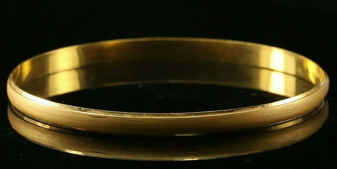 22k Bangle Solid Gold Simple Plain Matte Finish Kara Design Size 2-3/8inch B3050 | Royal Dubai Jewellers