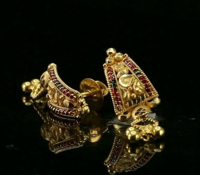 22k Earrings Solid Gold ELEGANT Simple Classic Enamel Studs Design E8236