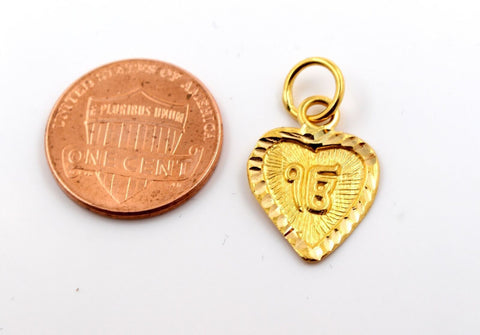 22k 22ct Solid GOLD HEART SIKHI RELIGIOUS EK ONKAR PENDANT Design p1049 ns | Royal Dubai Jewellers