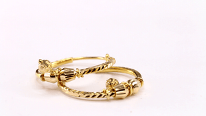 22k 22ct Solid Gold Elegant Ladies Classic Hoops EARRINGS Size .75in E5979 | Royal Dubai Jewellers