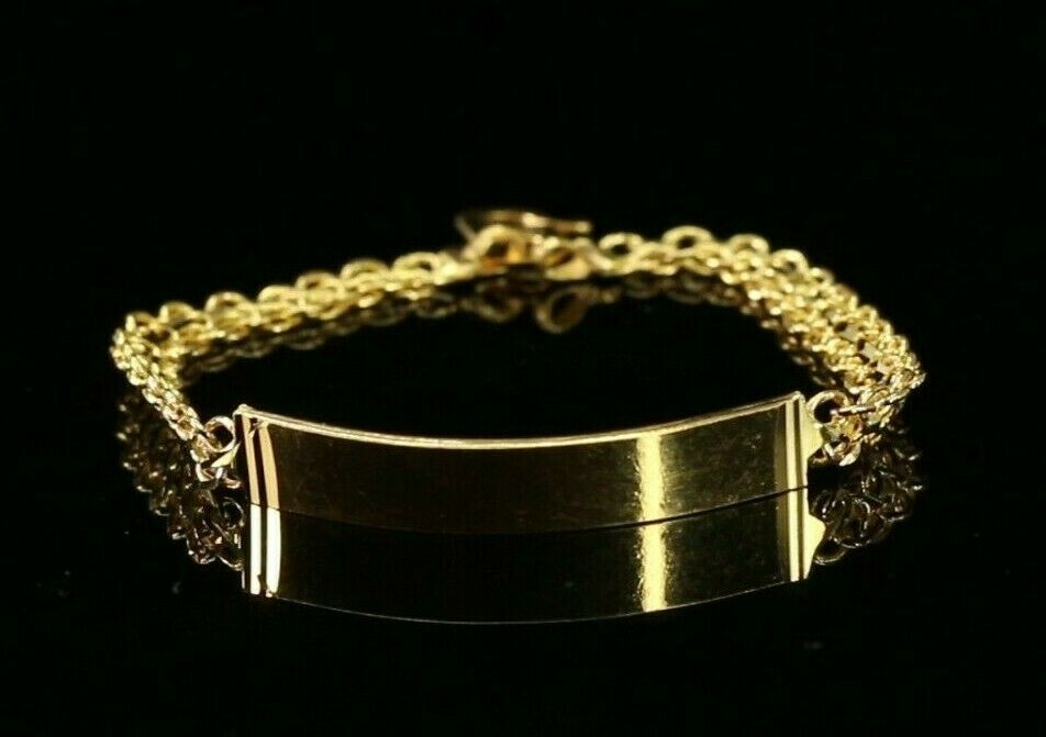 22k Bracelet Solid Gold Simple Dazzling Simple Design With Face Plate B4163