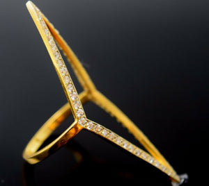 22k 22ct Solid Gold ELEGANT ZIRCONIA WOMEN DESIGNER Ring RESIZABLE size8.6  r776 | Royal Dubai Jewellers