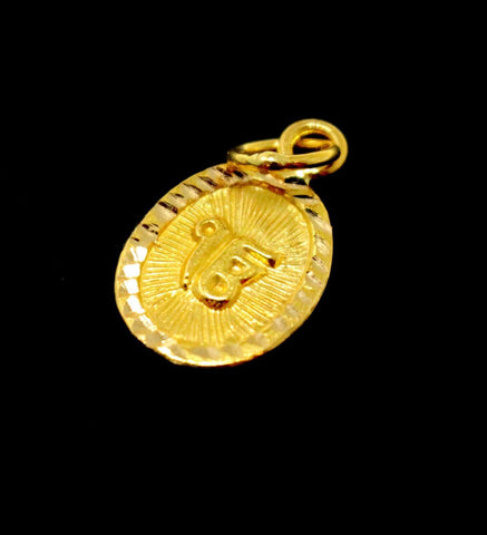 22k 22ct Solid Gold SIKH RELIGIOUS KHANDA ONKAR Pendant Locket Diamond Cut ns | Royal Dubai Jewellers