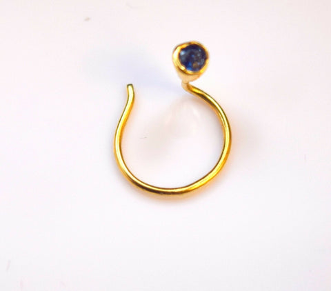 Authentic 18K Yellow Gold Nose Pin Ring Blue Birth Stone September n135 | Forever22karat