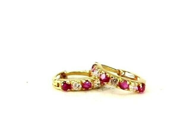 22k Earrings Solid Gold ELEGANT Simple Stones Encrusted Hoops Design E8073