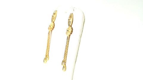 22k Earrings Solid Gold ELEGANT Simple Floral Dangle Earring Stud Design E3867