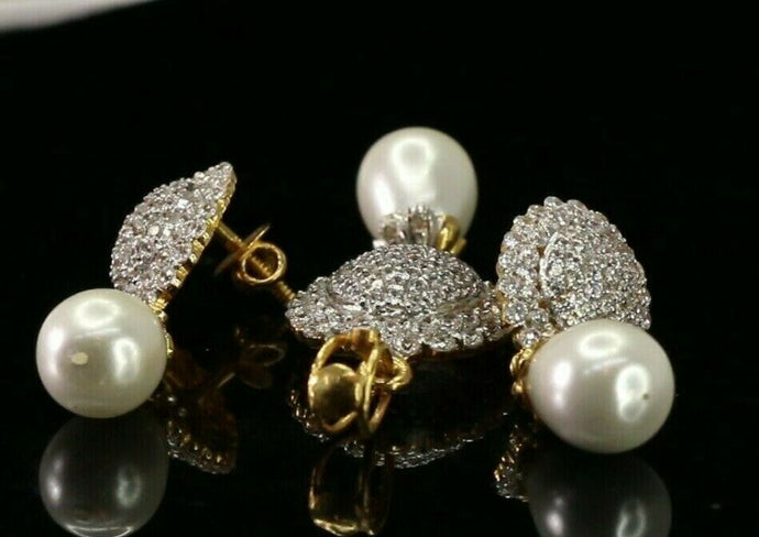 22k Pendant Set Solid Gold ELEGANT Pearl and Stone Encrusted Pendant Set p4126