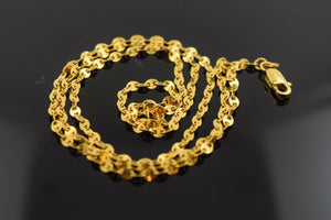 22k 22ct Yellow Solid Gold Chain Necklace 2.2 mm C159 with box | Royal Dubai Jewellers