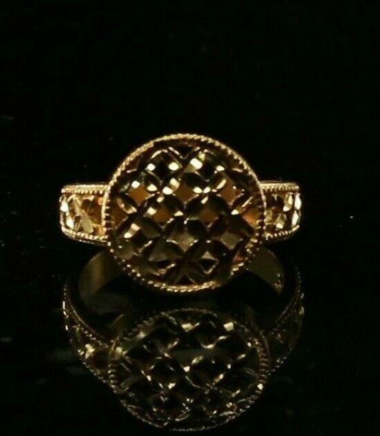 22ct 22k Solid Gold Elegant Charm Floral Design Ladies Ring Size R2042mon | Royal Dubai Jewellers