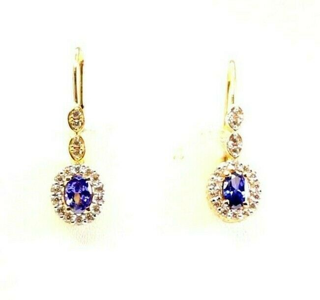 22k Earrings Solid Gold ELEGANT Purple Stone with French Hook Design e7346