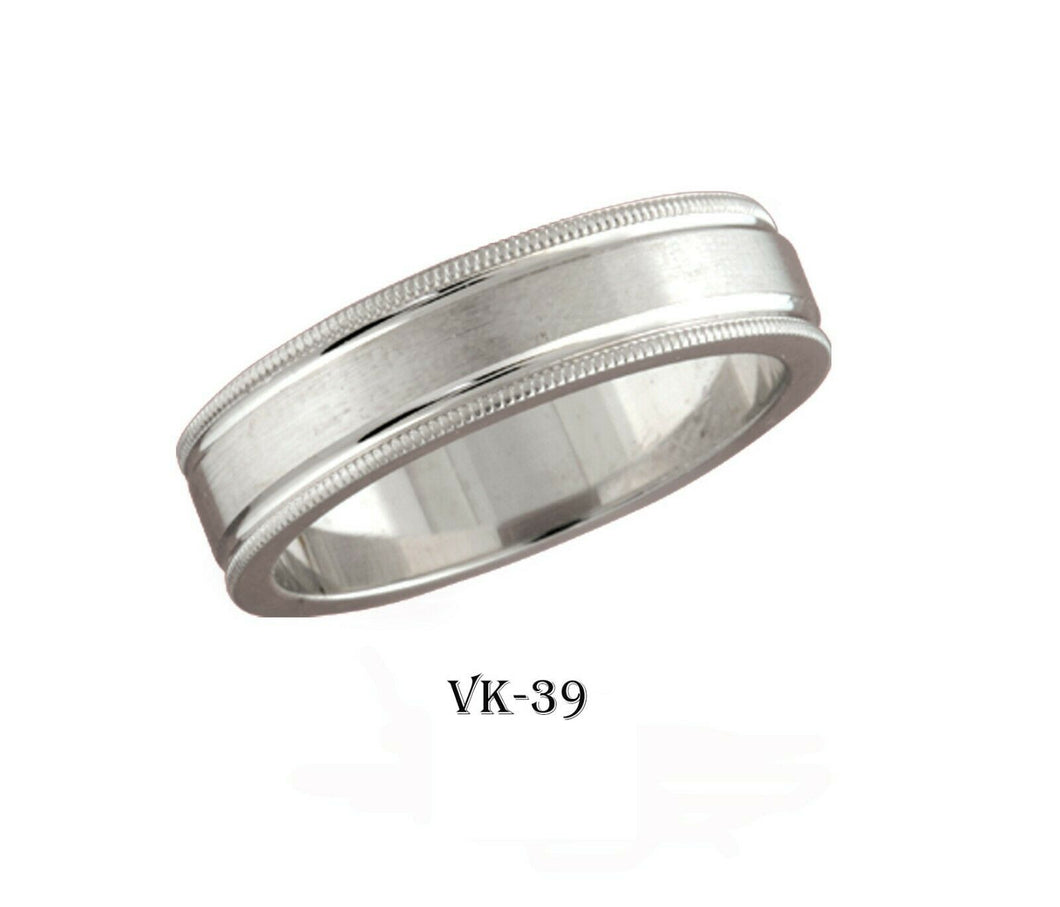 18k Solid Gold Elegant Ladies Modern Cross Satin Flat Band 6MM Ring VK39v