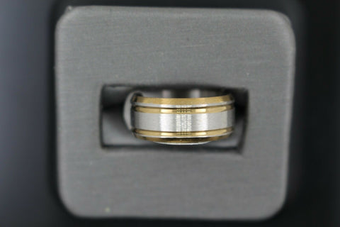 18k Solid Gold Elegant Ladies Modern Satin Finish Band Ring R9237m