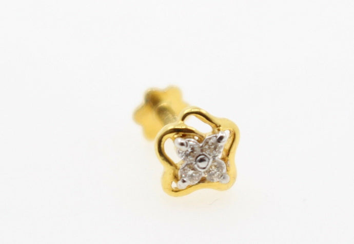 Authentic 18K Yellow Gold Charm Nose Pin Stud Diamond VS2 n313 | Forever22karat