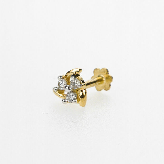 18k Stunning Modern Diamond Solid Gold Nose pin Unique Design Comfort Fit NP95