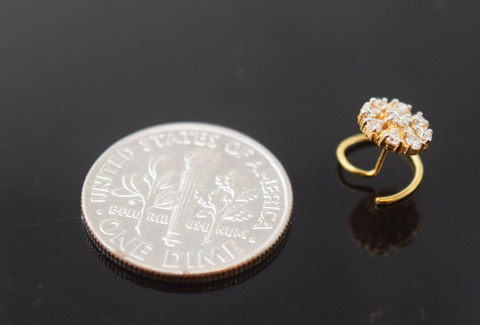 Authentic 18K Yellow Gold Charm Nose Pin Ring Diamond VS2 n016 | Forever22karat