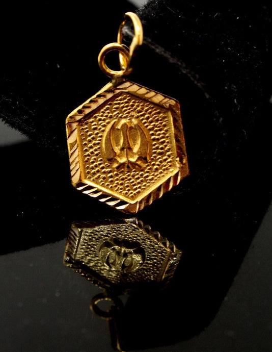 22k 22ct Solid GOLD SIKHI RELIGIOUS KHANDA PENDANT Design p1025 ns | Royal Dubai Jewellers