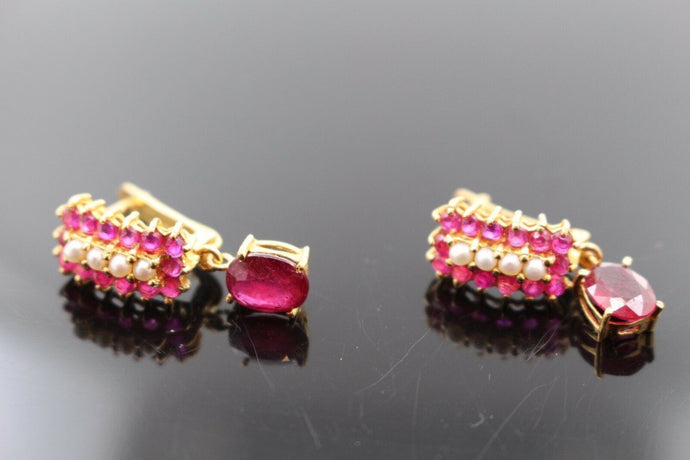 22k Jewelry Solid Gold ELEGANT Ruby and Pearl Stone Earrings e2155 | Royal Dubai Jewellers