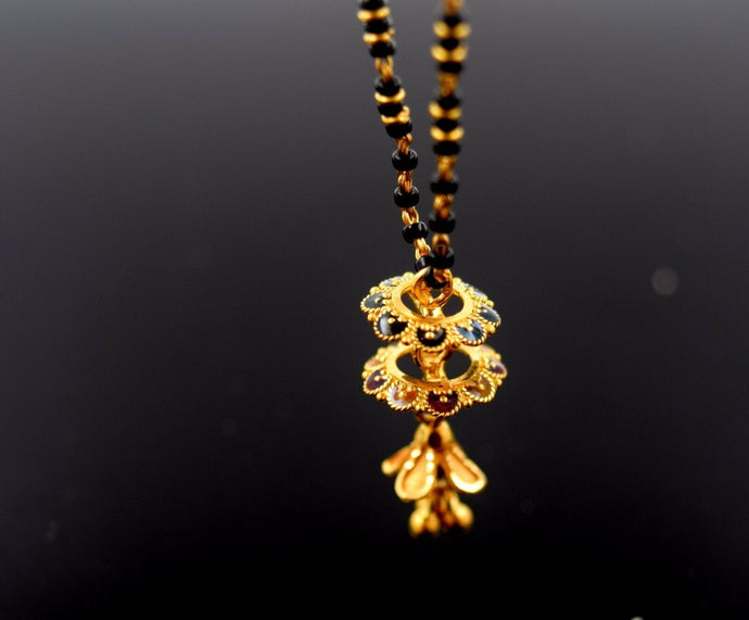 22k Jewelry Yellow Gold Rope Chain Solid Necklace Mangalsutra Design 16