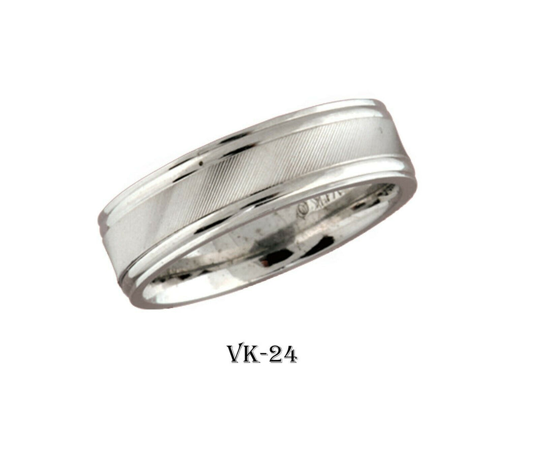 18k Solid Gold Elegant Ladies Modern Satin Finish Flat Band 6MM Ring VK24v