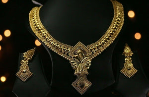 22k Beautiful Solid Gold Classic Traditional Necklace Set For Ladies LS199