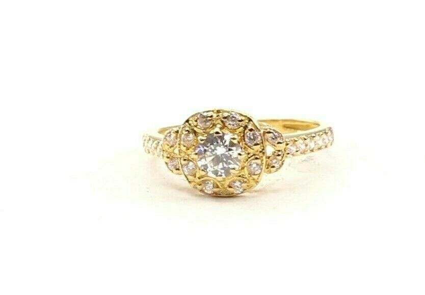 22k Ring Solid Gold ELEGANT Charm Ladies Stone Ring SIZE 6.25