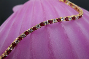 22k Jewelry Solid Gold ELEGANT Ruby Bracelet Size 7  B350 | Royal Dubai Jewellers