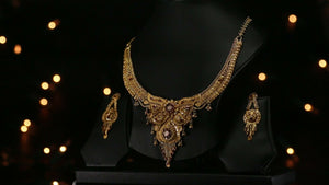 22k Beautiful Solid Gold Classic Filigree Two Tone Necklace Set For Ladies LS197