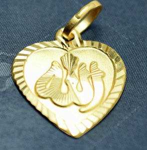 22k 22ct Solid Yellow Gold MUSLIM Allah HEART Pendant charm FREE BOX P731 | Royal Dubai Jewellers