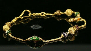 22k Bracelet Solid Gold Simple Dazzling Ball With Enamel Design b4082