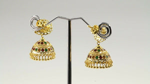 22k 22ct Solid Gold ELEGANT Simple Antique Multi Color Small Jhumki E6033 | Royal Dubai Jewellers