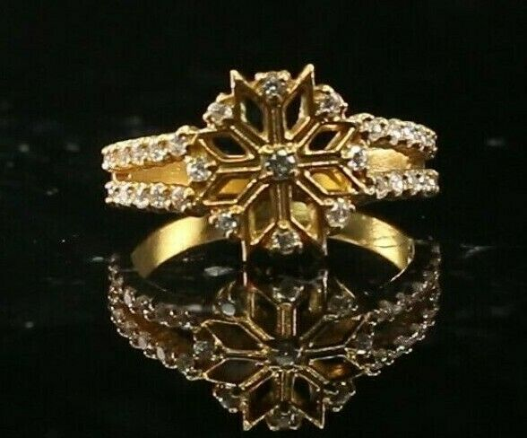 22k Ring Solid Gold ELEGANT Charm Ladies Floral Band  SIZE 7