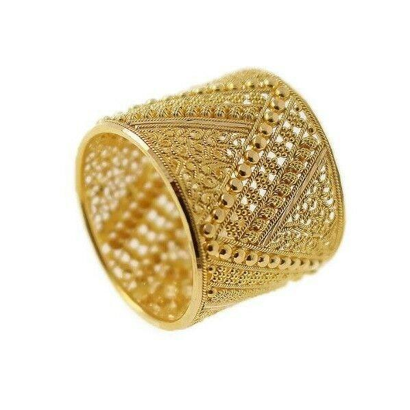 22k 22ct Solid Gold ELEGANT Charm Ladies Ring Modern Floral Design SIZE 9 r1669 | Royal Dubai Jewellers