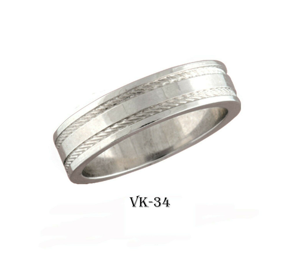18k Solid Gold Elegant Ladies Modern Matte Finished Flat Band 6MM Ring VK34v