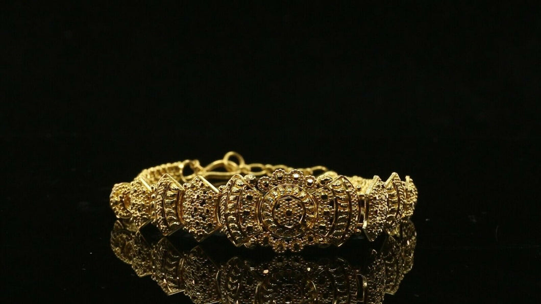 22k 22ct Jewelry Solid Gold Elegant Antique Charm BRACELET LENGTH 8 inch B971 | Royal Dubai Jewellers