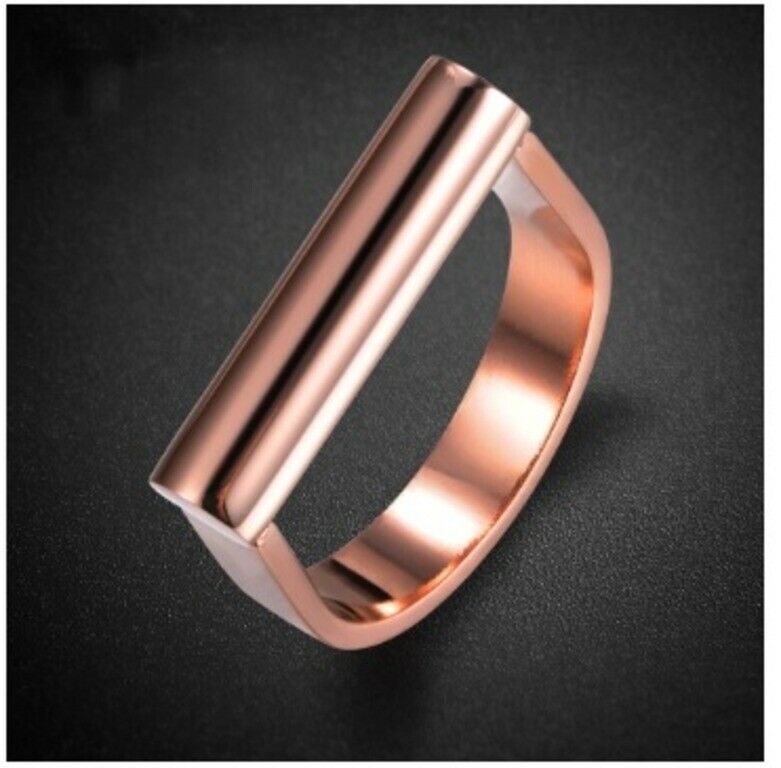Solid Rose Gold Ladies Ring Simple U Shape Modern Design SM2