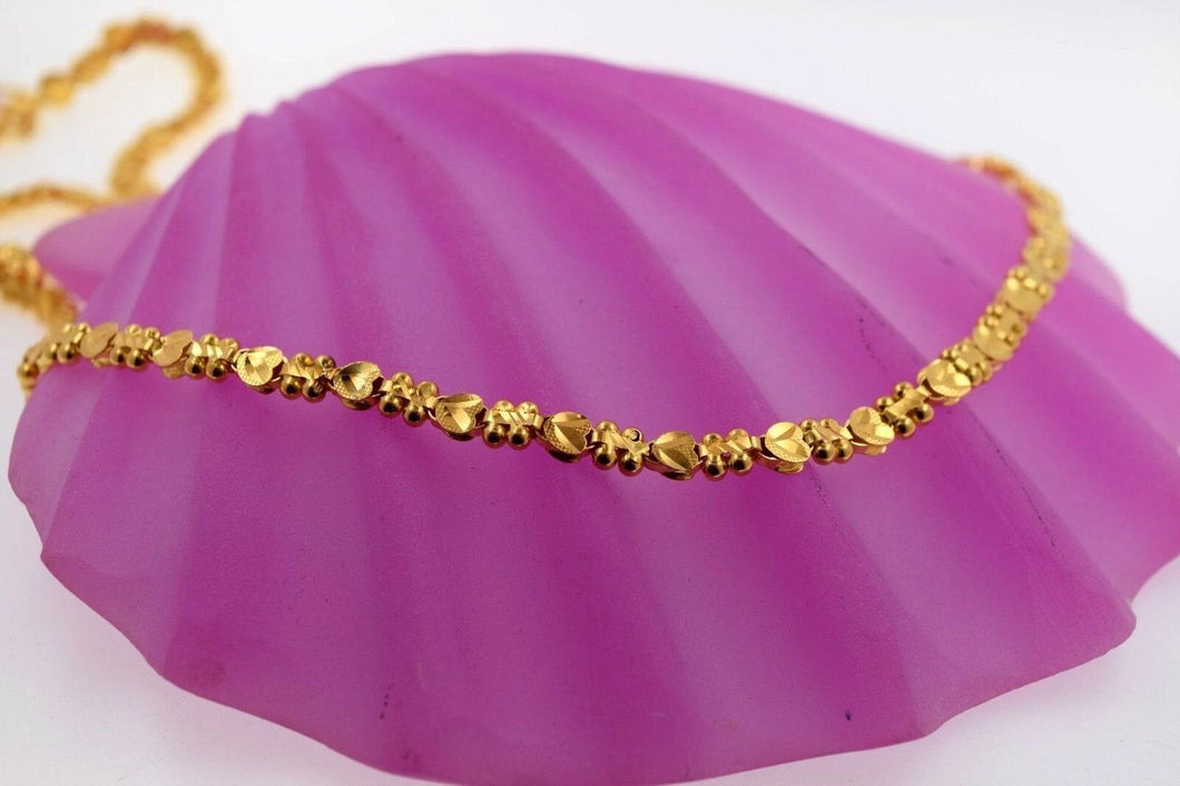 22k Chain Yellow Solid Gold Necklace Exquisite Simple Cute Design 22 inch c1018 | Royal Dubai Jewellers