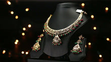 22k Beautiful Charm Solid Gold Classic Stone Necklace Set For Ladies LS155