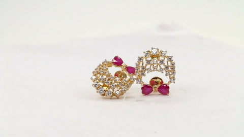 22k Earring Solid Gold ELEGANT Simple Studs With Stones Design E6023 | Royal Dubai Jewellers