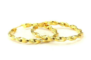 22k Earrings Solid Gold ELEGANT Simple Twisted Hoops Design E3912