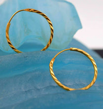 22k 22ct Solid Gold FANCY THIN MEDIUM SIZE HOOP BALI EARRING WITH BOX mf | Royal Dubai Jewellers