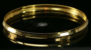 22k Bangle Solid Gold Simple Charm Diamond Cut Men Design Size 2.75 inch B4224