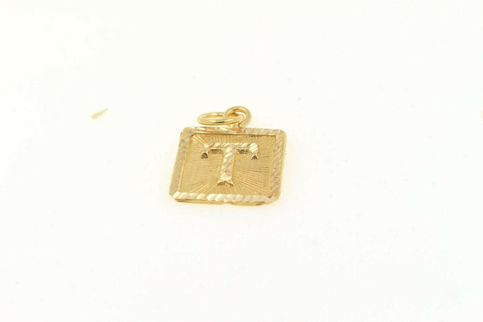 22k 22ct Solid Gold Charm Letter T Pendant Square Design p1122 ns | Royal Dubai Jewellers