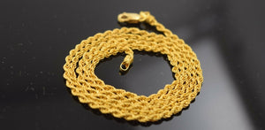 22k Yellow Solid Gold Chain Necklace 0.05mm Rope Design mf c178 | Royal Dubai Jewellers