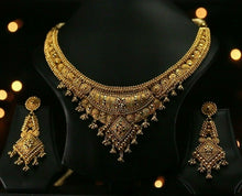22k Beautiful Charm Solid Gold Classic Antique Necklace Set For Ladies #LS173