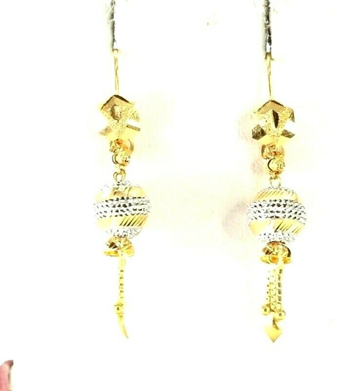 22k Earrings Solid Gold ELEGANT Simple Diamond Cut Stud Dangle Design e3872