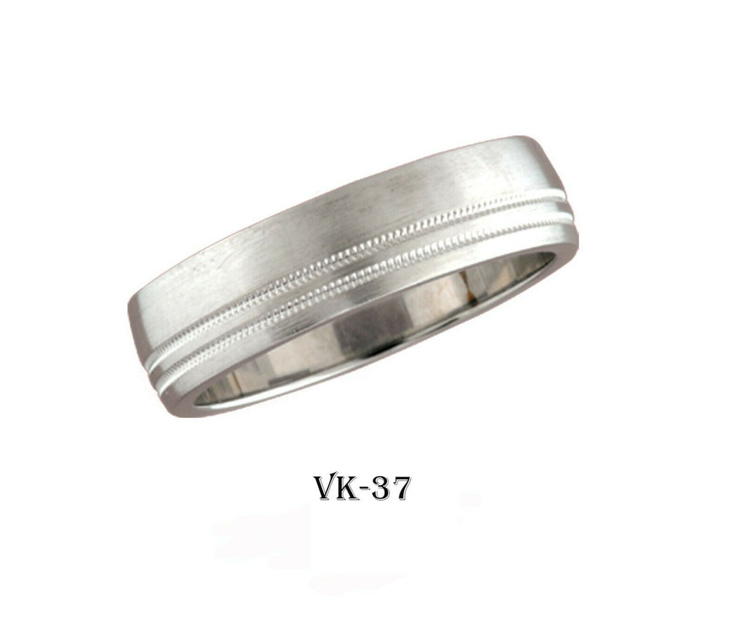 18k Solid Gold Elegant Ladies Modern D-Shaped Flat Band 6MM Ring VK37v